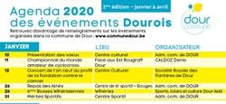 Agenda 2020 des événements Dourois - 1ère édition - Janvier à avril